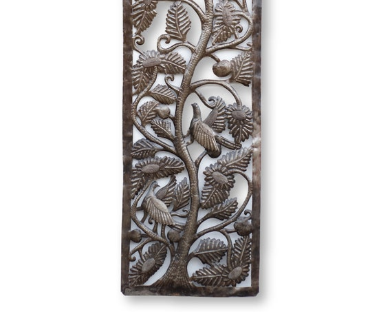Haitian Wall Art, Framed Tree of Life with Birds, One-of-a-Kind Handmade Sculpture 70x17.5in