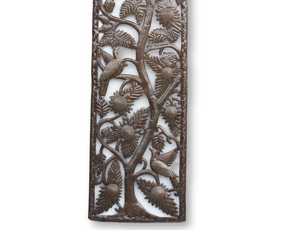 Haiti Metal Art, Framed Tree of Life with Birds Handmade, Vintage One-of-a-Kind 70x16.5in