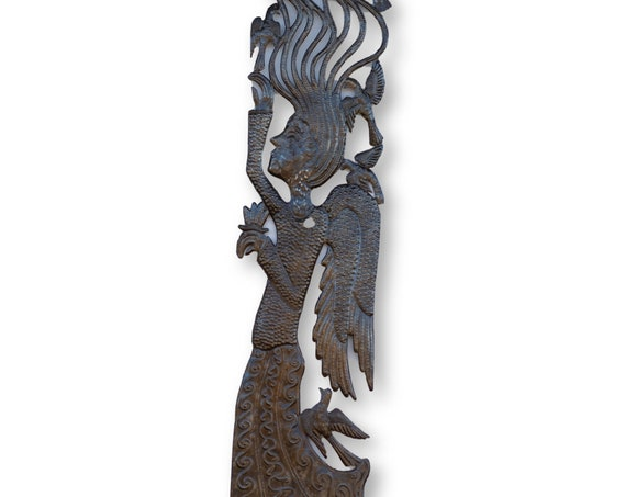 Haiti Metal Sculpture, Angel with Birds, Vintage One-of-a-Kind Home Decor, 71x13in