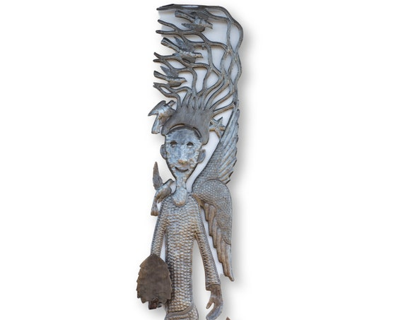 Haiti Metal Sculpture, Angel with Christmas Tree, Vintage One-of-a-Kind Fair Trade Art 70x12in