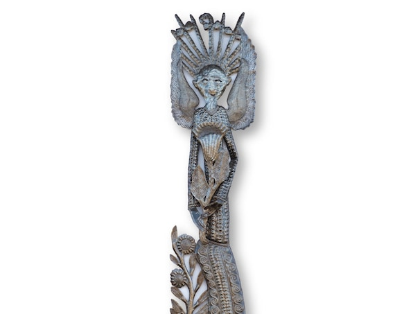 Haitian Metal Sculpture, Flower Angel Handcrafted from Recycled Metal, One-of-a-Kind Home Decor 70x11in.