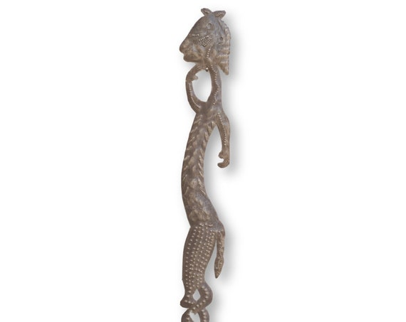 Haitian Home Sculpture, Voodoo with Intertwined Legs, Handmade Fair Trade Art, 32x3in.