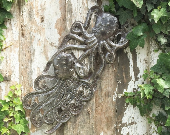 "Handmade Octopus, Recycled Metal Ocean Wall Art, Haitian Art indoor outdoor 7""x 17"""