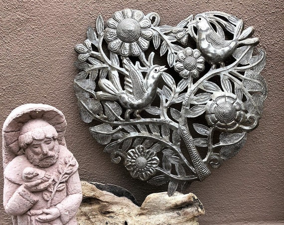 Hearts of hearts, Artistic metal sculpture, Novelty Gift, Wall Decor, Handmade in Haiti 11""