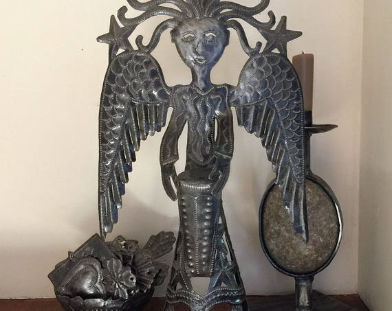 Standing Metal Angel Playing a Drum Made from Recycled Steel in Haiti Fair Trade Project Novelty gift