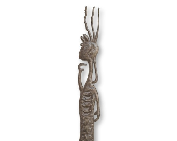 Haitian Home Sculpture, Voodoo Goat Creature, Handmade Fair Trade Art, 35x5in.