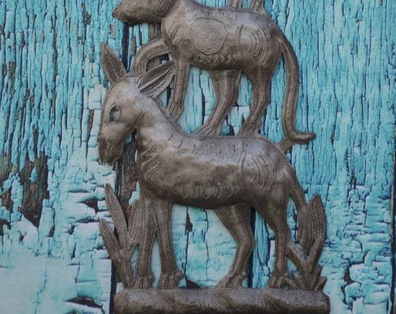 """Haiti metal wall art, Stacking Animals, fair trade home art, 7"""" x 16"""""""