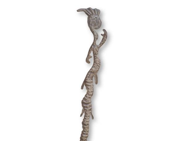 Haitian Home Sculpture, Waving Voodoo Creature, Handmade Fair Trade Art, 34x5in.