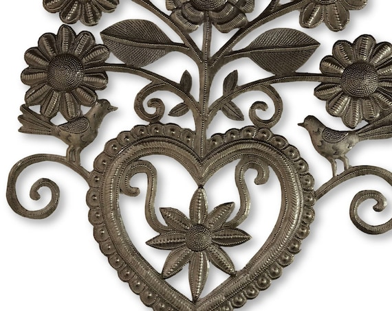 "Secret Garden Heart, Decorative Wall Artwork, Friendship Heart, Indoor and outdoor, Handmade in Haiti 14"" x 14.5"""