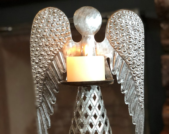 X Large Standing Angel Candle Holder, Christmas Decor, Handmade in Haiti from Recycled Metal, 19 in. x 9 in. x 5 in.
