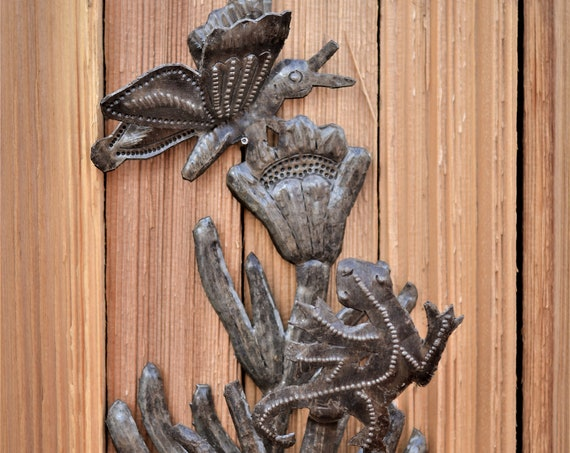 "Butterfly and Gecko, Outdoor Wall Art, Haitian Metal From Recycled Oil Drums , Novelty gift 6""x 10"""