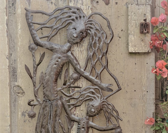 "Girls Dancing Wall Art, Haiti Metal Sculpture Fair Trade Haiti, Outdoor home decor 18""x 34"""