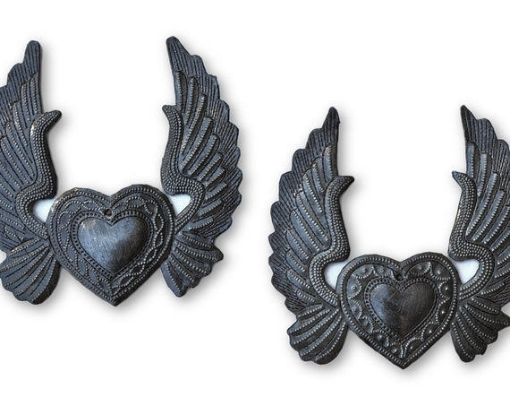 Small Metal Hearts with wings, Angel wings, set of 2 Ornaments, Eco-friendly gift, Limited Edition, Handmade in Haiti