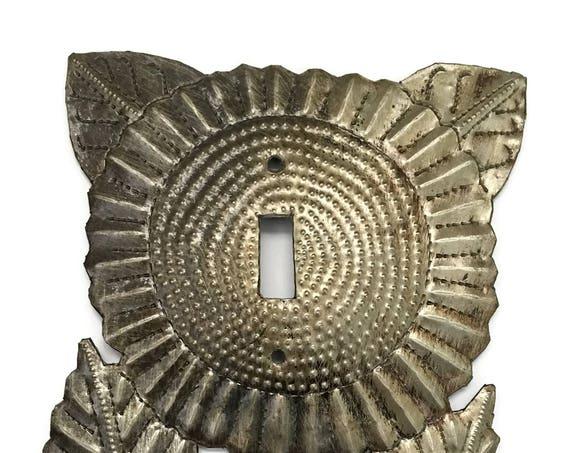 Metal Decorative Light Switch Cover, Recycled Fair Trade Home Decor, Haiti, Artistic Craft Art