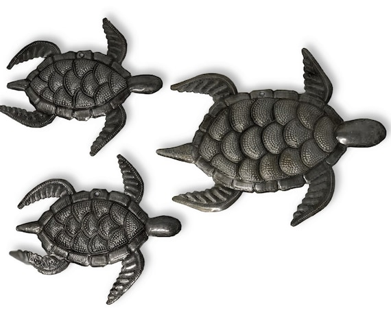 "Sea Turtle, Set of 3, Swimming Right, Ocean, Beach, Metal Wall Art,  Recycled Steel Haiti large turtle 10"" X 8"" , mini turtles 6.5"" X 7"""