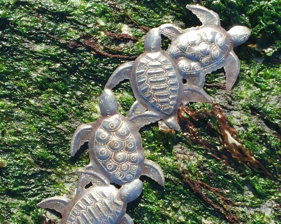 "Sea Turtle, Sea Life Family Metal Wall Art, Handmade in Haiti, Steel Drum Art 6"" X 17"""