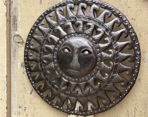 "Metal Sun - Wall Art From Haiti, Beautifully crafted from Recycled Oil Drums 17"" x 17"""