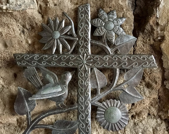 "Large Metal Cross, Wall Hanging Cross, Eco-friendly gift, Birds and flowers, Love and Friendship Handmade 16"" x 17"""