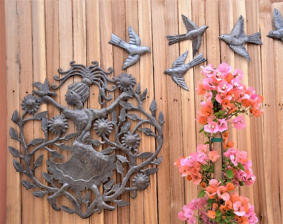 Joy in the Garden, Haiti Metal Wall Art, Patio Yard Decor Indoor and Outdoor 23""