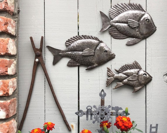 Nautical Fish, Set of 3, Beach Home Decor, Sea Life Wall Hanging Art, Haitian Metal