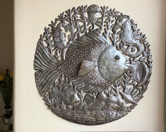 Round Fish with Marble Eyes, Starfish, Seahorse, Sea Life Nautical Theme House Decorations, Indoor Outdoor, 22.5 Inches, Handmade in Haiti