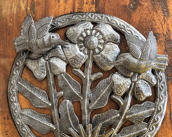 "Small Hummingbirds and Flowers, Spring Garden Decorations, Handmade in Haiti, 10"""