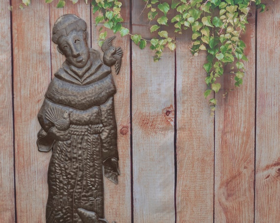 "Metal Praying Saint Francis Garden Statue Indoor & Outdoor Decor, Handmade in Haiti (11"" X 33"")"
