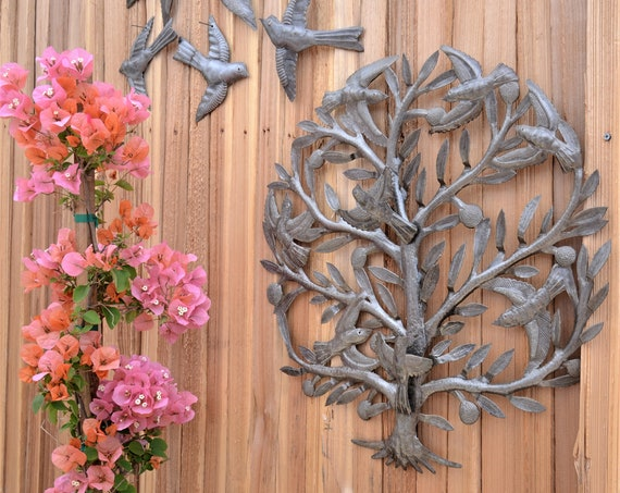 "Metal Tree of Life Wall Craftsmanship, Handmade in Haiti, Indoor and Outdoor Garden Display, 22""x 22"""