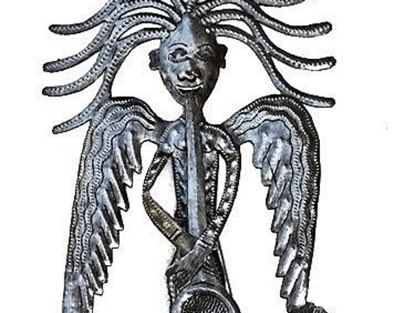 "Garden Stake Haitian Angel Playing Horn 14"" x 18"" - Outdoor Garden Yard Decor"