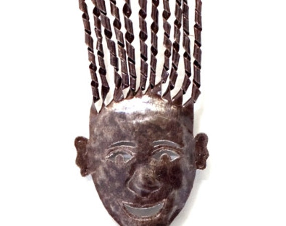 "Haiti Metal Folk Art Girl, from Recycled Oil Drums, Fair Trade 7"" x 41"""