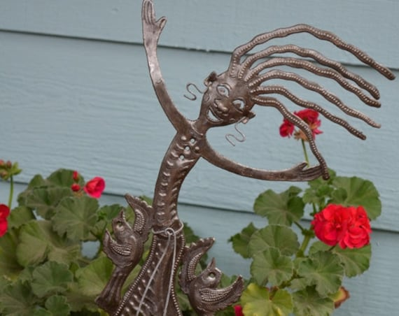"Garden Stake, Jump for Joy Spring Metal Plant Stake - Outdoor Garden Yard Decor, Haitian Ornament Patio Marker 10"" X 17"""
