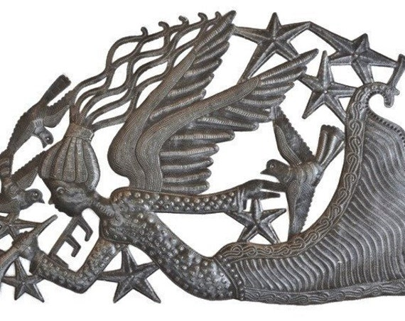 "Musical Angel Arch, Haiti Metal Art, Fair Trade, Recycled Metal Wall Art, Steel wall Sculpture, 34"" x 17"""