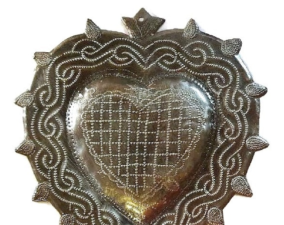 Metal heart with a Heart, Veve Freda Erzulie Dantor, Made from Recycled Steel Barrel in Haiti