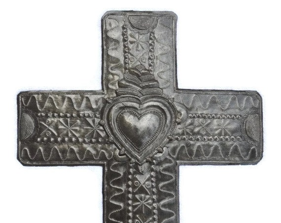 "Metal Cross with Milagros Heart, Large Cross, Wall Art, Handmade in Haiti 14"" X 19"""