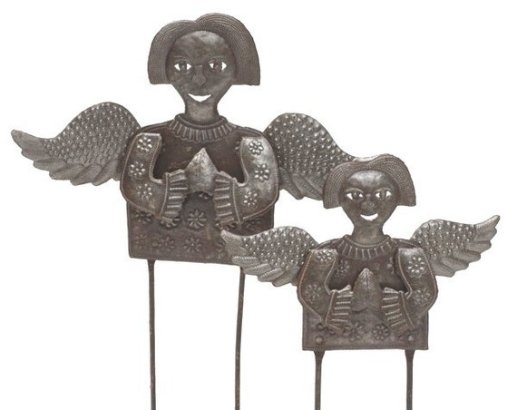 Standing Folk Angels (set of 2), Christmas Holiday Indoor and Outdoor Decor, Novelty Gift