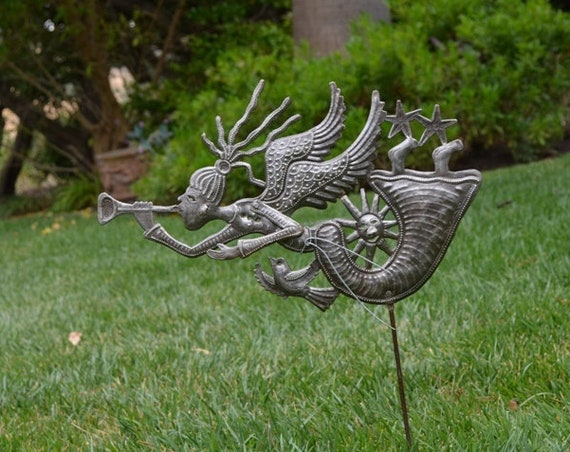 """Angel in My Garden, Garden Stake, Spring House Decorations, Handmade from Recycled Steel Barrels, Haitian Metal Art 18"""" x 11"""""""