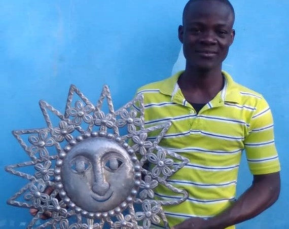 Triangular Floral Haitian Sun Made From Reclaimed Metals, One-of-a-Kind 23x23