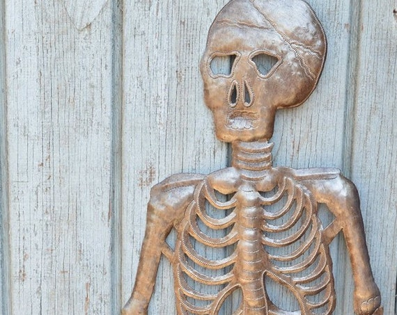 """Hanging Skeleton, Day of the Dead, Rustic & Industrial 13"""" x 28"""""""