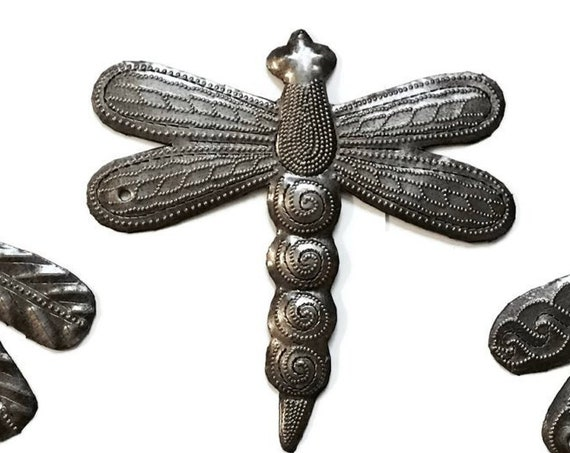 "Small Dragonflies, Metal Wall Hanging, indoor and outdoor, hand cut from Steel Barrels in Haiti, (Set of 3 ) 6"" x 6"""