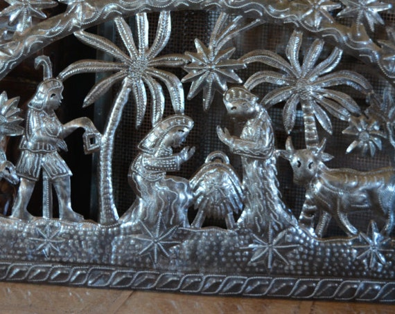 "Tropical Holiday Nativity, Christmas Home Decorating, Haiti Metal Wall Art 33"" x 16"""