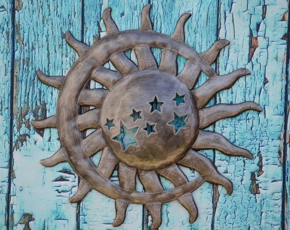 "New Sun and Moon with Stars, Artistic Quality Craftsmanship from Haiti, Handmade from recycled oil drums 14""x14.5"""