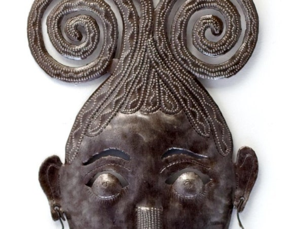 "Swirly Girl Mask Haitian Metal Art, Indoor and Outdoor Home Decor  7.5"" X 17.5"""