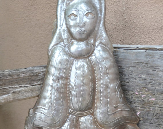 "Madonna Metal Garden Art, Virgin Mary, Religious Home Decor, Handmade in Haiti  17 1/2"" x 6"""