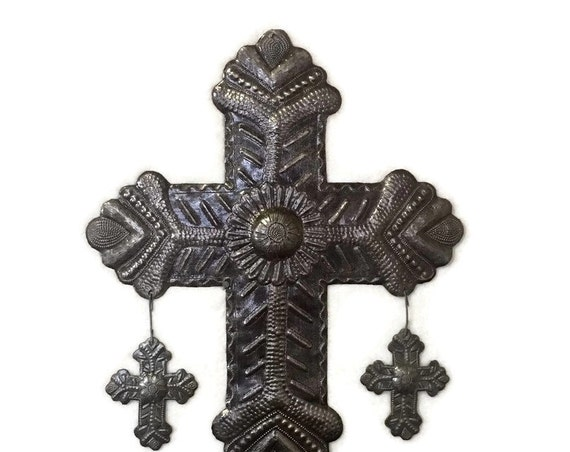 """Metal Cross with hanging Milagro Crosses, Metal Wall Art, Novelty Gift, Recycled Steel, Religious Home & Decor,   13"""" x 20"""""""