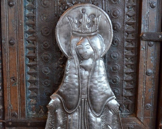 Blessed Virgin Mary Mother Madonna, Metal Art, Novelty Gift, Handmade in Haiti