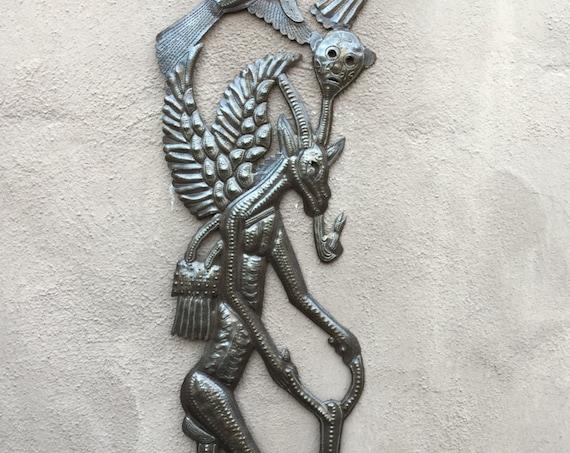 """Goat riding a Bike, Haiti Voodoo Metal Wall Art  11"""" x 32.75"""""""
