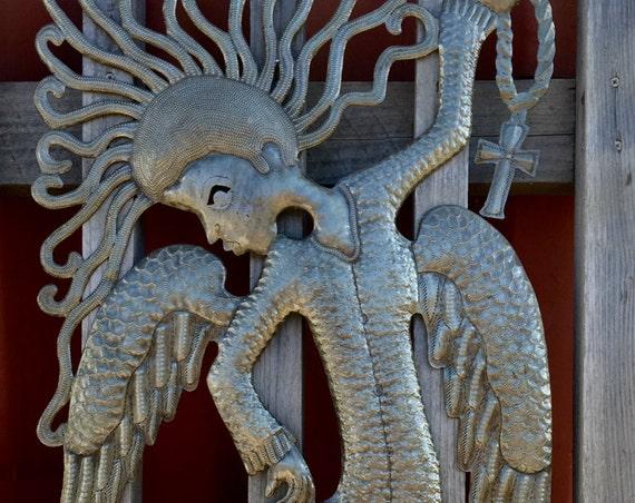 "Flamenco Dance Angel , Large Metal Angel, Haiti Art, Fair Trade, Recycled Steel Sculpture, 18"" x 34"""