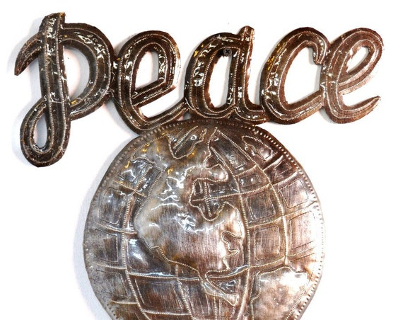 """Peace on Earth Wall Sign, Large Peace Sign, Decorative Eco-friendly Gift Haitian Steel Drum Art 14"""" x 17"""""""