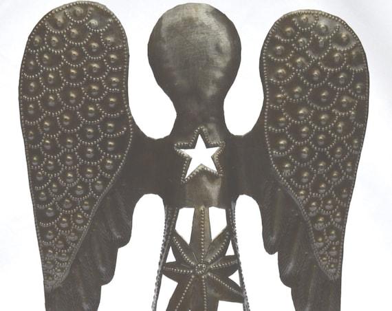 "Standing Metal Angel, Nativity, Holiday Decor, Festive, Religious home art, Eco-friendly gift, handmade in Haiti 9"" x 14.5"""