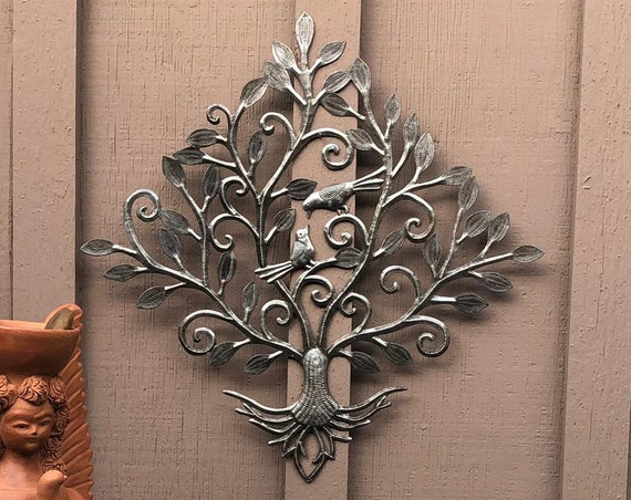 "Spring Garden Birds, Floral Metal Wall Art, Indoor and Outdoor Garden Decor, 19.5"" x 20"""